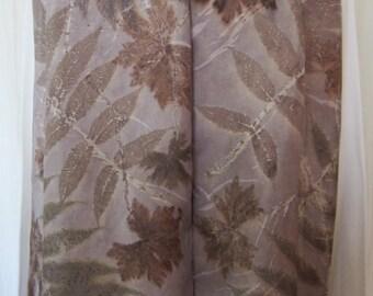 New silk scarf .Eco printed.Leaf pattern. Habotai silk scarf.Handmade. Eco dye.Multicolor. Eath, brown, sea-green, grey color