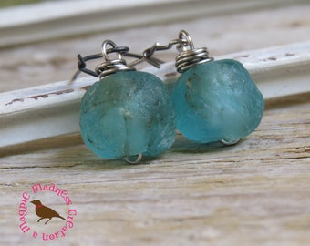 Rough Recycled Blue Green Bottle Glass Drop Earrings, Recycled Aqua Glass, Blue Green, Aqua Glass Earrings, by Magpie Madness for Etsy