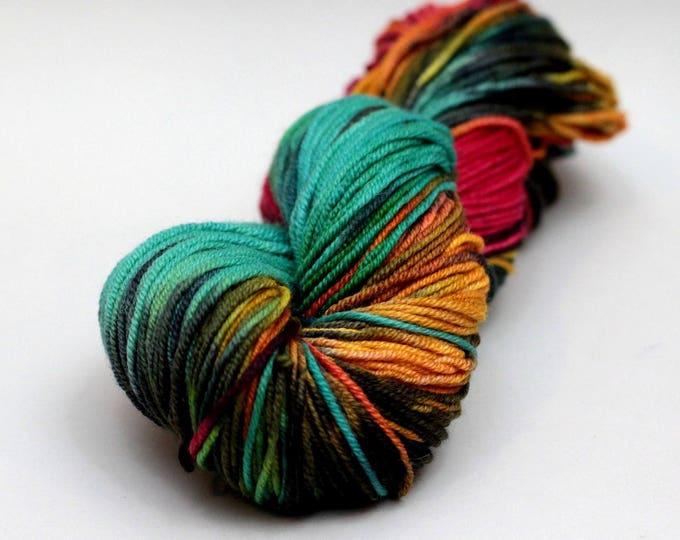 """Hand dyed yarn Merino, Baby Alpaca, Silk """"Rasta"""" in Norah, DK weight"""