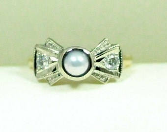 Akoya Pearl and Diamond Engagement Ring, 18k Gold Wedding Band, Vintage inspired design, Bow Tie,