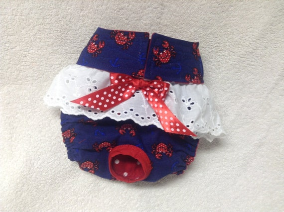 Dog Diaper Panty Female Pet Wrap Doggie Pants Britches Cute Crabs Custom Size xSmall Only Last One