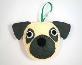 Felt Dog Ornament - Pug