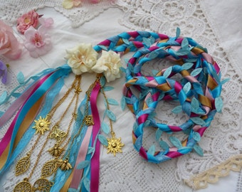 Summer garden - Handfasting cord- aqua blue - pink - gold - ivory flowers and golden charms