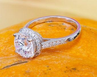 GIA I-SI1 14K White Gold Round Cut Diamond Engagement ring Halo, Prong Set, Anniversary, Wedding, Propose, Bridal, Deco, filigree 2.40ct