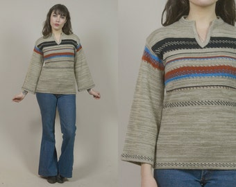 70s Hippie Sweater Grey Knit Tunic Space Dyed Bell Sleeve Striped Ethnic 1970s Boho Fitted Jumper / Size S M Small Medium