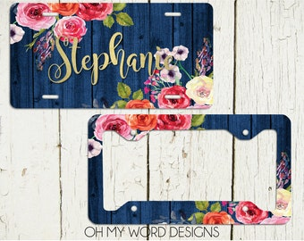 Personalized License Plate-Personalized License Plate Frame-Watercolor Flowers Car Tag-License Plate Frame-Flowers-License Plate Frame