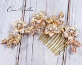 Rose Gold Bridal Hair Comb,  Crystal Wedding Bridesmaid Flower Rhinestone Hair Pin Accessory E26