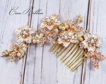 Gold Bridal Hair Comb,  Crystal Wedding Bridesmaid Flower Rhinestone Hair Pin Accessory E26