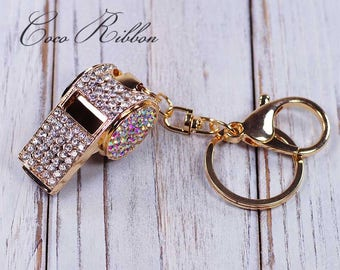 Rhinestone Whistle Gold Alloy Key Chain Key Ring Keychain B32