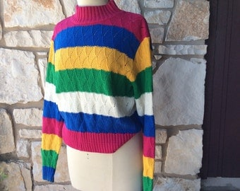 Vintage Multi Striped Sweater Chunky Cropped Fit