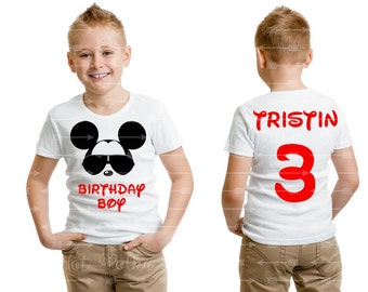 """Mickey Mouse """"Birthday Boy"""" Toddler Youth Boy White Tee  Personalized Name and Age Number on Back Cool Mickey Mouse Custom Boy Disney Shirts"""