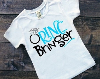 """Toddler, Youth Boys """"Ring Bringer"""" White Short Sleeve Tshirt - Ring Bearer Wedding Party 2T 3T 4T 5T Youth Boy"""