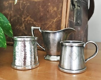 Set of 3 Vintage Silver Plated Hotel Creamers