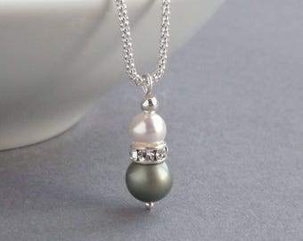 Sage Green Pearl Necklace - Pistachio Pearl Drop Necklaces - Olive Bridesmaid Gifts - Sage Green Wedding Jewellery - Sage Bridal Party Gifts