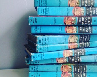Vintage Hardy Boys Books Instant Library Collection Decorative Books Photography Props Aqua Franklin W Dixon Set of 12