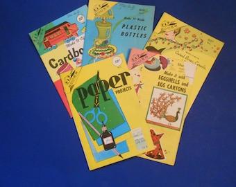Five Vintage Kap Kraft Books, Paper Projects, Eggshells and Egg Cartons, Cereal Boxes, Plastic Bottles, Cardboard