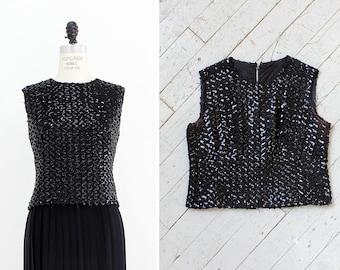 Black Sequin Top M/L • 60s Black Sequin Blouse • Vintage Sequin Top • Shell Top • High Neck Crop Top • Black Top  | T705