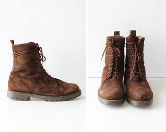 Suede Boots 10 • 90s Boots • Lace Up Boots • Combat Boots Women • Vintage Boots • Brown Boots • Womens Boots Size 10  | SH175