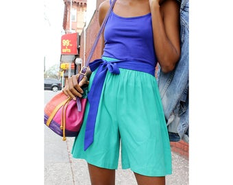 80s Shorts XS/S/M • High Waisted Shorts • Flowy Shorts • Vintage Shorts • Elastic Waist Shorts • Green Shorts • Summer Shorts | SK847