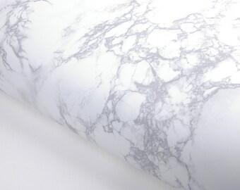 Matte White Grey Granite Film Counter Top Look Marble Effect Film Vinyl Self Adhesive Peel-Stick Wallpaper