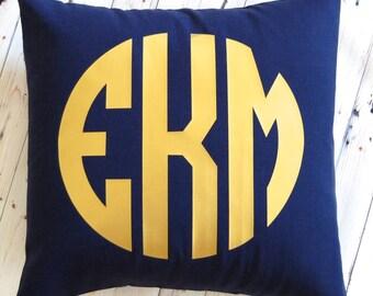 Metallic Gold Monogram Pillow - Circle Font- Three Letters - Decorative Cushion 16 x 16  - Nine Fabric Colors - 16 Imprint Colors