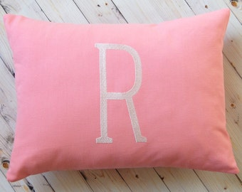 Letter Pillow Cover - Monogram Pillow Cover - Personalized Gift - Baby Girl Bedding - Personalized Cushion Cover - Solid Color - Nursery