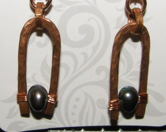 Hammered Copper Earrings with Black Pearls Longer Version