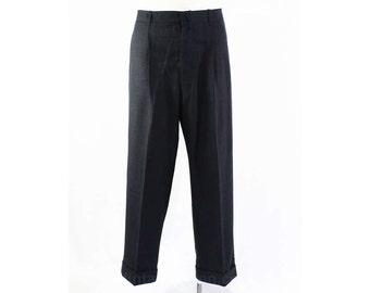 Men's Large Pants - 1950s Dark Blue & Black Custom Mens Dress Pant - Mid Century 50s Striped Trousers - Waist 37 - Inseam 28.5 - 45762