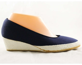 Size 8 Navy Keds Espadrilles - Unworn Classic Shoes - 80s Casual Dark Blue Wedges - Grasshoppers by Ked's - 1980s Deadstock - 8N - 47653-1