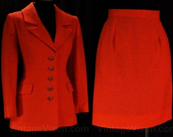 Size 8 Designer Suit - Exquisite Couture Quality Orange Wool Jacket & Skirt by Peggy Jennings - Rainbow Glass Buttons - Waist 28 - 47934