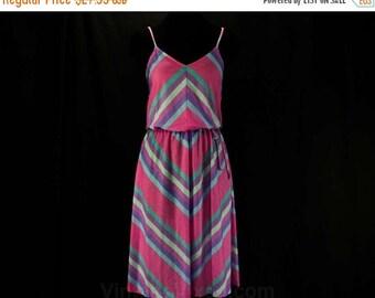 Size 6 Sun Dress - Small 1970s Blouson Summer Dress - Rose Pink Lavender & Sky Blue Chevron Stripes - T-Shirt Knit - Bust 34 - 46212
