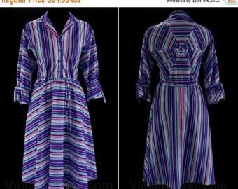 Size 12 Purple Dress - 50s Inspired 1980s Striped Shirtwaist - 50s Chevron Stripes - Violet & Aqua Blue - Novelty Piecing - Waist 31 - 46566