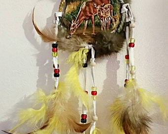Deer Mandela Doe and Fawn w/Rabbit Fur and Brown Leather Trim Wall Hanging Yellow and Brown Feathers
