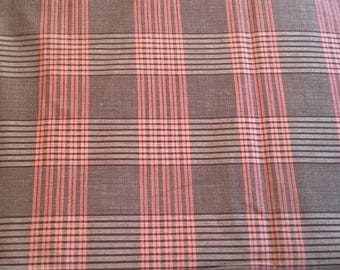 Brown and Orange Woven Plaid Vintage Cotton Fabric 4 Yards X0864
