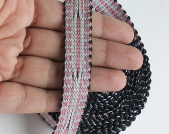 Uzbek pink color woven trim Jiyak. Ethnic Boho, Hippy trim