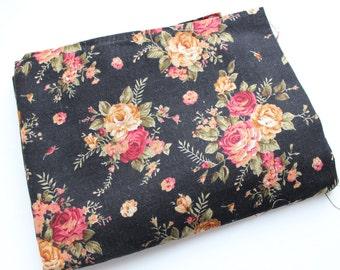 Mix color cotton/linen fabric Roses