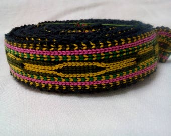 Uzbek handwoven cotton trim Jiyak. Tribal ethnic, boho, hippy trim. TR016
