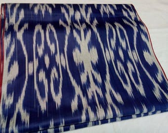 Uzbek traditional blue cotton woven ikat fabric 245cm