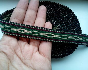Uzbek handwoven cotton trim Jiyak. Tribal ethnic, boho, hippy trim. TR069