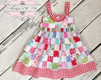 Girls Ella Dress Red Check Patchwork Bib Toddler Infant Girls