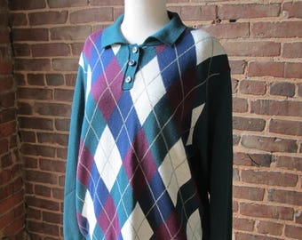 Vintage Alfred dunner ladies Argyle Sweater, Size Large