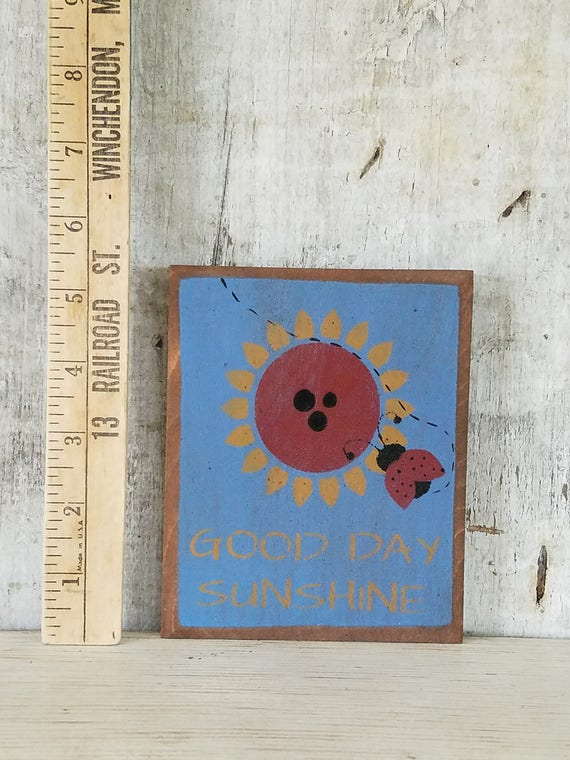Primitive Country Decor Lady Bug Sunflower Summer Painted