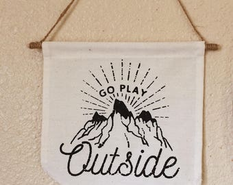 Go Play Outside Pennant Banner Wall Hanging