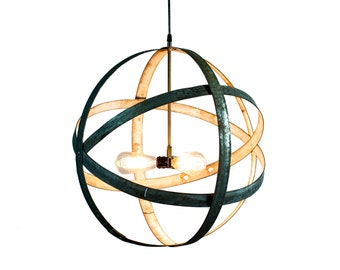 wine barrel lighting. barrel ring chandelier atom premier triple bulb light 100 handmade recycled wine lighting