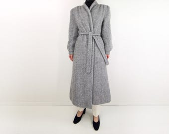 VINTAGE Robe Coat Fuzzy Soft Gray Long