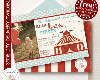 Vintage Circus Invitation, Circus Birthday Invitation, Circus Party, First Birthday, Girl Birthday, Boy Birthday, Circus Photo Invite