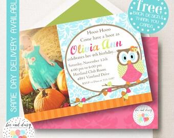 Woodland Owl Invitation, Woodland Owl Birthday Invitation, Woodland Owl Party, Girl First Birthday, Girl Birthday, Owl Photo Invite