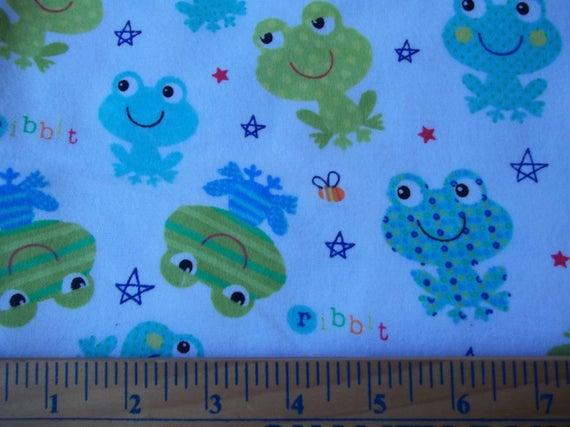 Baby frogs cotton flannel flannel fabric frog flannel for Children s flannel fabric by the yard