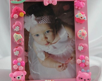 Children's Pink Polka Dot Button Picture Frame, Birthday, Baby, All Occasion Gift