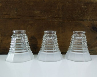 Vintage Glass Lamp Shades / Set of 3 ribbed frosted glass light covers